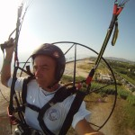 Flying single paramotor. You will fly on a paratrike now :-)