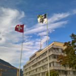 Flags of Switzerland and Grisons
