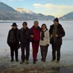 Happy tourists in Sankt Moritz for a winter guided tour