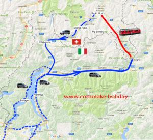TOUR Treno rosso di Bernina e Sankt Moritz, itinerario