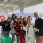 Celebrating on ferry boat to Bellagio